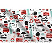 Spoonflower London Fabric - Crazy for London Uk Kids Pattern by littlesmilemakers - London Fabric with Printed on Basic Cotton Ultra Fabric by the Yard