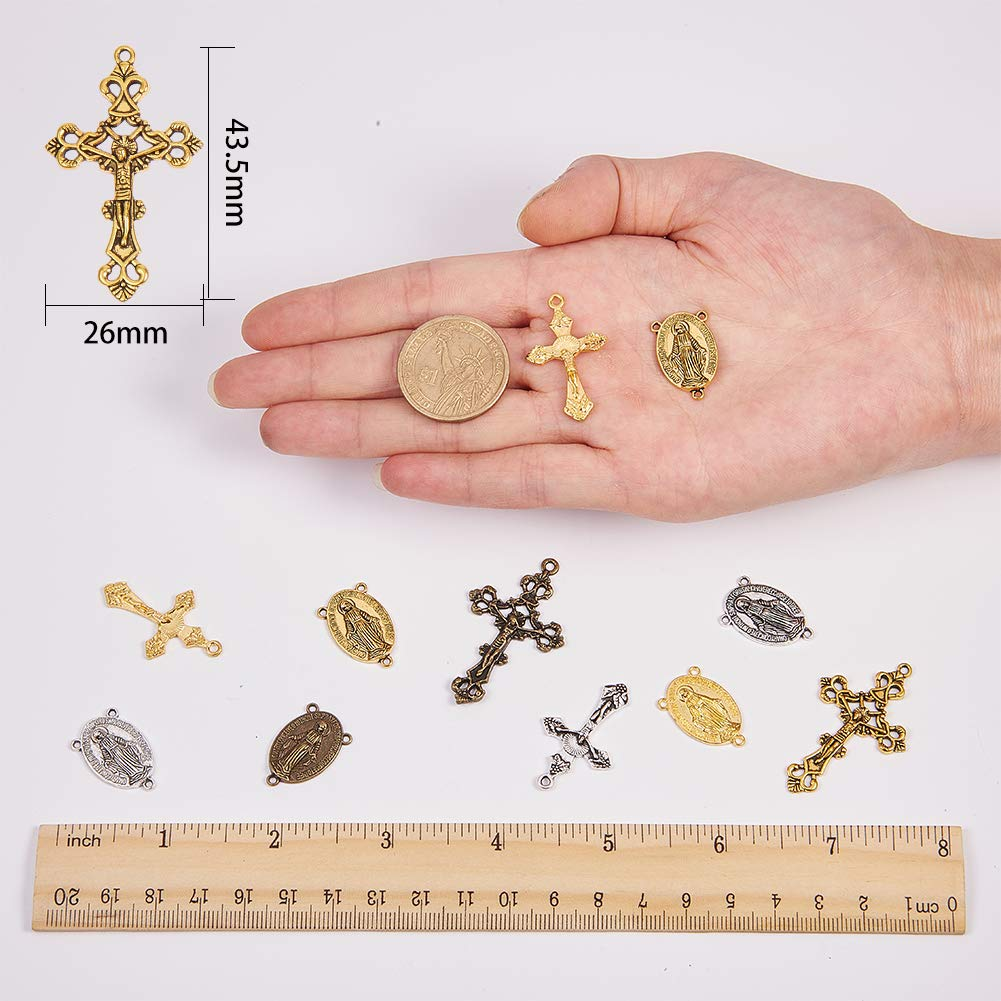 SUNNYCLUE 40PCS 4 Color Tibetan Style Rosary Cross and Center Miraculous Medal with Alloy Crucifix Cross Pendants and Oval Chandelier Links for Rosary Holy Beads Necklace Making