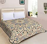 Handicraftofpinkcity Floral Duvet Doona Mandala Bohemian Ethnic Queen Quilt 2 pillow Cover Blanket (pillow case will come in Matching Design fabric
