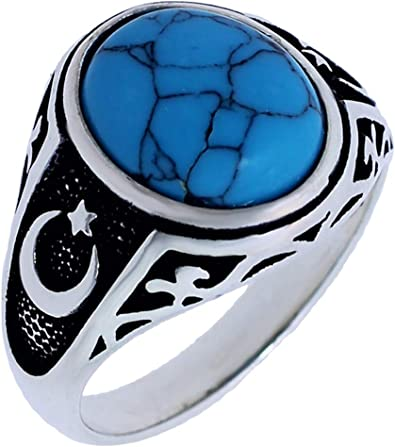 Solid 925 Sterling Silver Double Headed Eagle Oval Turquoise Stone Men/'s Ring