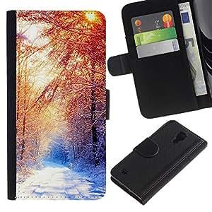 // PHONE CASE GIFT // Moda Estuche Funda de Cuero Billetera Tarjeta de crédito dinero bolsa Cubierta de proteccion Caso Samsung Galaxy S4 IV I9500 / Beautiful Winter Forrest /