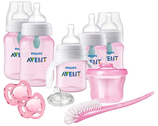 Philips Avent Anti-Colic Baby Bottle with AirFree Vent Beginner Gift Set Pink, SCD393/04