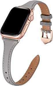 WFEAGL Leather Bands Compatible with Apple Watch 38mm 40mm 42mm 44mm, Top Grain Leather Band Slim & Thin Wristband for iWatch SE & Series 6/5/4/3/2/1 (Gray Band+Rose Gold Adapter, 38mm 40mm)