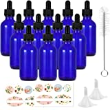 12 Pack 60 ml 2 oz Blue Glass Boston Bottles with Glass Droppers and Black Caps.Glass Dropper Bottles for Essential Oils…