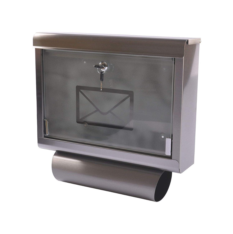 Edelstahl Glasfront Designer Wandbriefkasten Briefkasten Postkasten Mailbox Letterbox mit Zeitungsfach