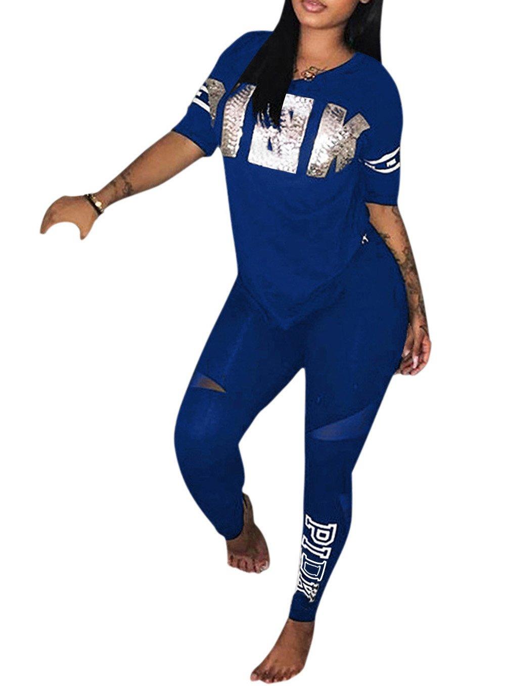 Molisry Women Word Letter Print V Neck Sweatshirt Long Pant Jumpsuits 2 Piece Outfits
