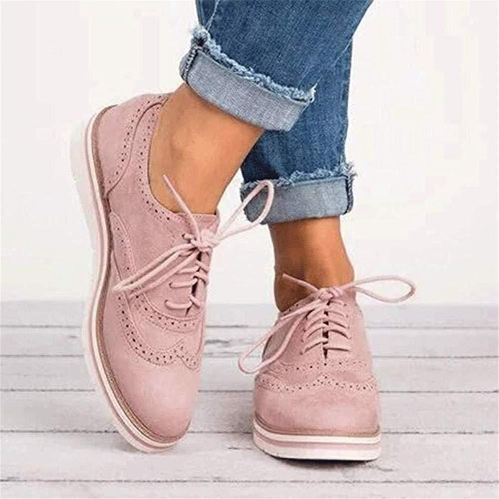 Zapatos Planos con Cordones Mujer Brogue Zapato Tal/ón Plano Gamuza Colores Manera Tallas Grandes Botas Negro Rosa Gris Azul Marr/ón 35-43 Rosa 41