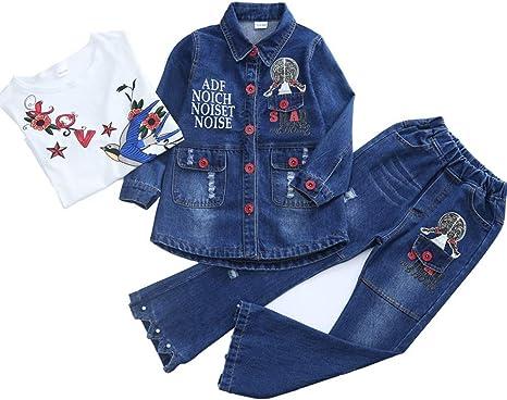 Conjuntos de ropa vaquera para niña Spring Autumn Girls 3pcs Conjunto de ropa Camisa de algodón Jeans Pantalones de mezclilla Bordado de flores Pantalones de mezclilla Top Conjuntos con camiseta blanc: Amazon.es: