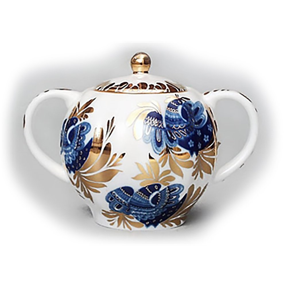 Golden Garden Sugar Bowl Lomonosov Porcelain