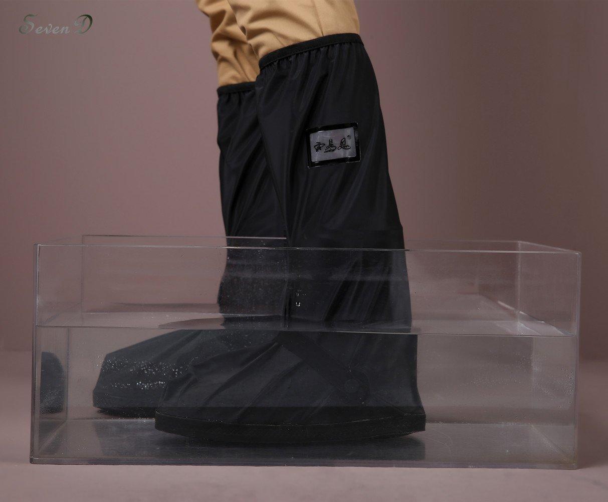 Impermeabile scarpa copertura, uomo riutilizzabile alto tubo di ispessimento fondo scarpa copertura, escursioni in bicicletta scarpa da pioggia copre leggero antiscivolo scarpe Nero--Tubo Alto) SevenD