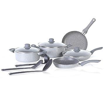 SIMPLE & Co Juego de Utensilios de Cocina con Revestimiento Antiadherente de 11 Piezas con Base de inducción y ollas y sartenes.