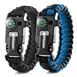 X-Plore Gear Emergency Paracord Bracelets | Set Of 2| The ULTIMATE Tactical Survival Gear| Flint Fire Starter, Whistle, Compass & Scraper/Knife| BEST Wilderness Survival-Kit -- Black(K)/Blue(K)