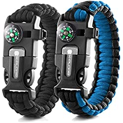 X-Plore Gear Emergency Paracord Bracelets | Set Of 2| The ULTIMATE Tactical Survival Gear| Flint Fire Starter, Whistle, Compass & Scraper/Knife| BEST Wilderness Survival-Kit -- Black(K)/Blue(K)