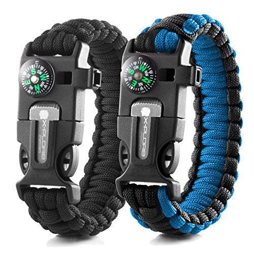 X-Plore Gear Emergency Paracord Bracelets | Set Of 2| The ULTIMATE Tactical Survival Gear| Flint Fire Starter, Whistle, Compass & Scraper/Knife| BEST Wilderness Survival-Kit - Black(K)/Blue(K) - Kid Gadgets