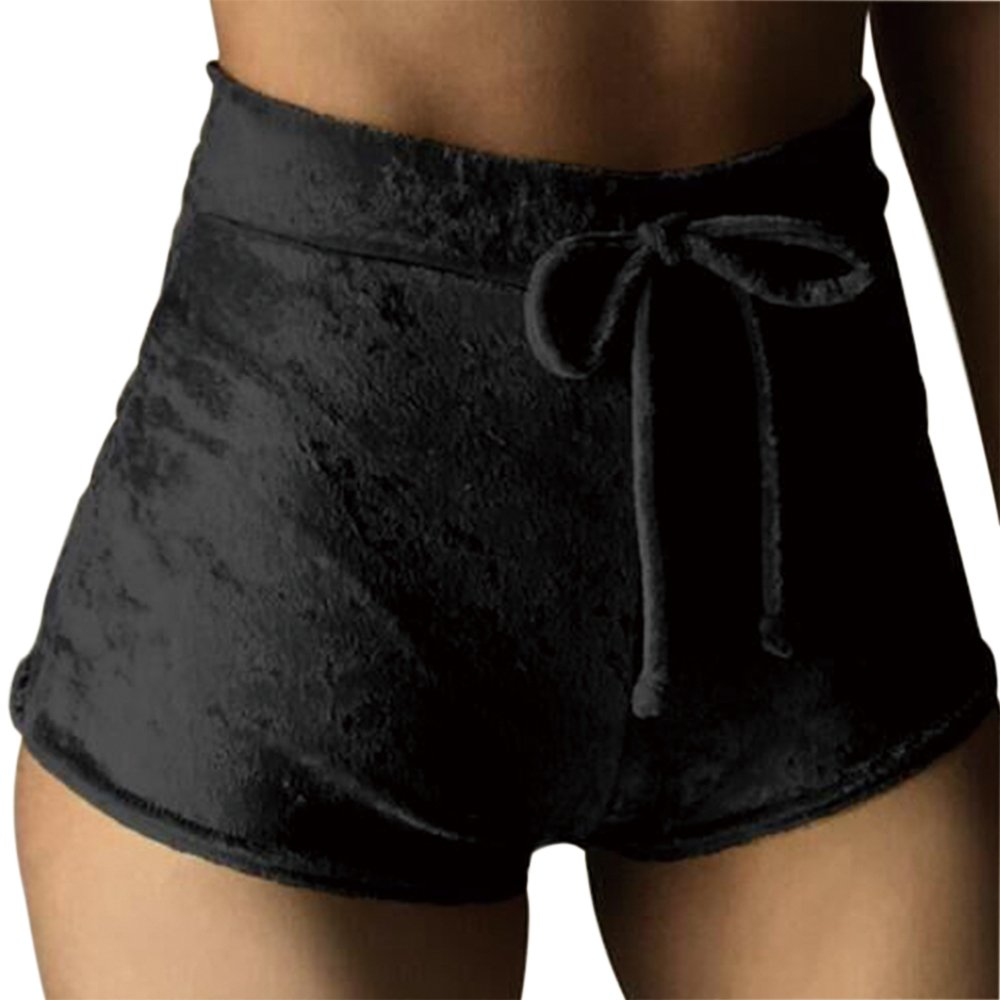 Womens Casual Soft High Waist Skinny Bottoms Drawstring Velvet Club Elastic Crotch Stretchy Shorts With Gym Sports,Black,1X Big