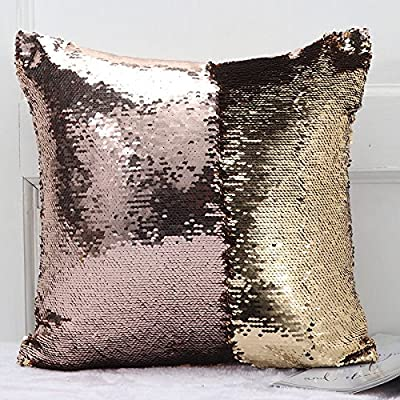 """Exerz EX-SQC Reversible Sparkle Sequins Cushion Cover 16"""" x 16""""/40 x 40 cm Color Change Mermaid Pillow Case 1 pc For Bedroom Couch Sofa Home Decoration (Golden/Pink)"""
