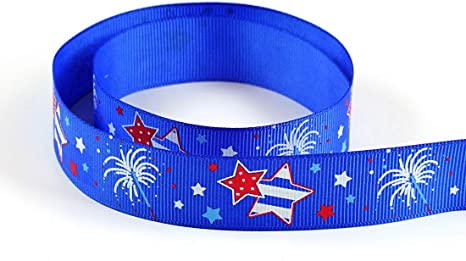 "5 yds 7//8/"" Red White Blue Patriotic Waiving American Flags Grosgrain Ribbon"