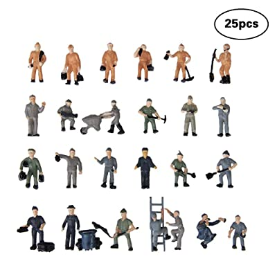 25 Pcs Worker Model Train Sand Table Model Track Railroad Worker People Figures with Ladder and Bucket: Toys & Games