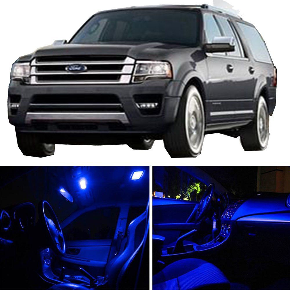 cciyu 11 Pack Blue LED Bulb LED Interior Lights Accessories Replacement Package Kit Replacement fit for 2014-2017 Replacement fit ford Expedition 811595-5210-1130341