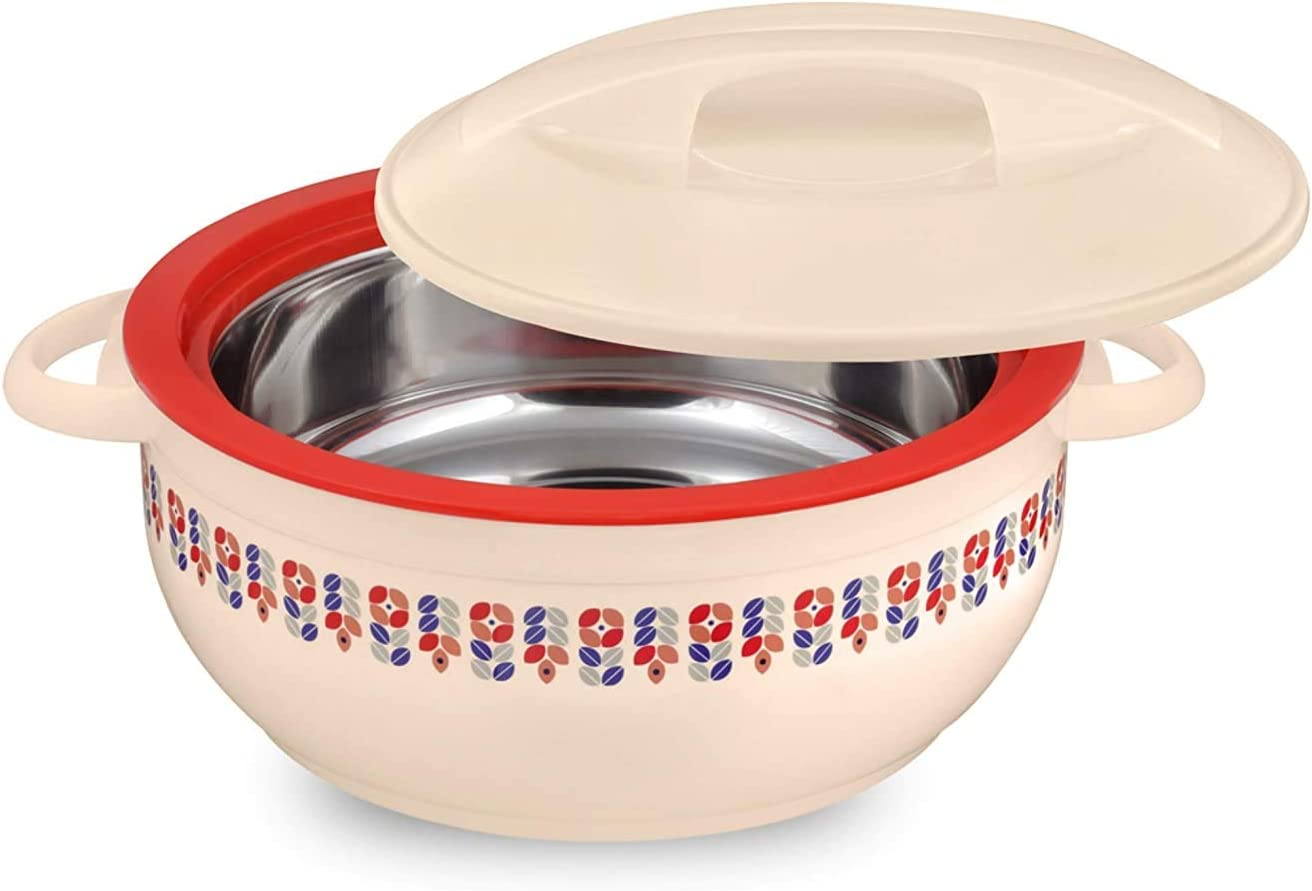 Tmvel Celebrity Insulated Casserole Hot Pot - Insulated Serving Bowl With Lid - Food Warmer (5500ml 5.5L, Beige)