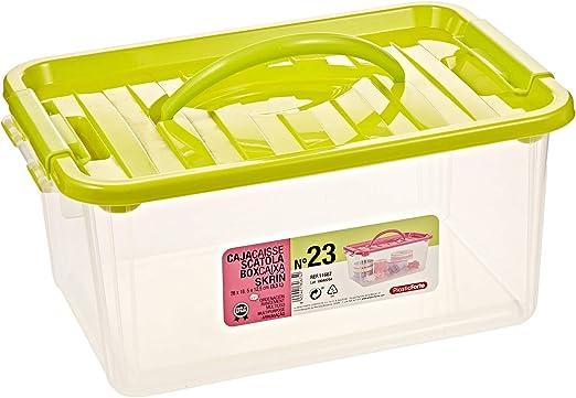 Caja Multiusos Plastico 3,5 L N 23 Tapa De Color Con Asa 280x185x125 Mm: Amazon.es: Hogar