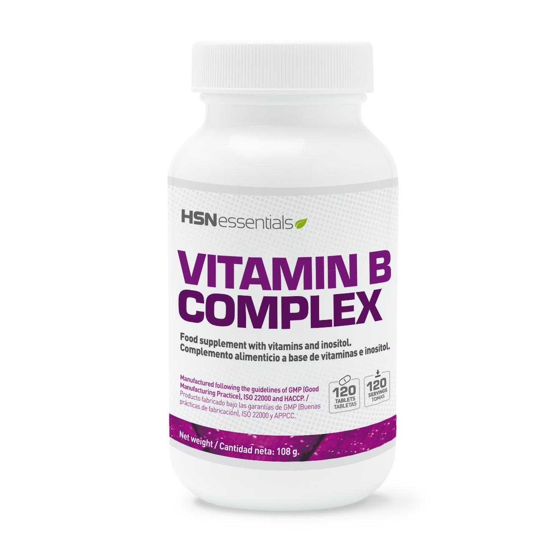 HSN Essentials - Vitamina B Complex - Vitaminas del grupo B: B1, B2, B3, B5, B6, B12, Biotina y Ácido Fólico - 120 tabletas