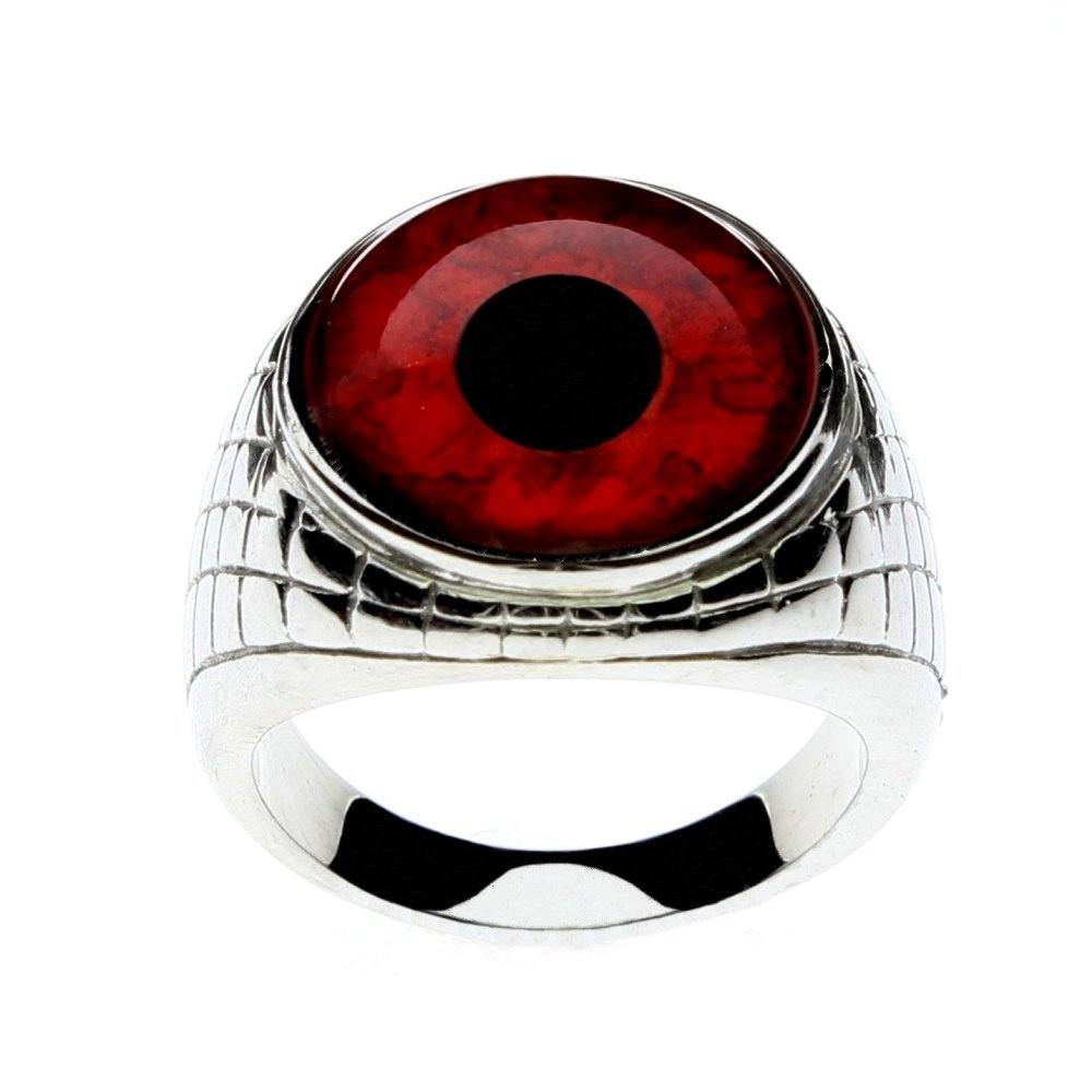 Steel Dragon Jewelry Men's Red Vampire Glass Eye Ring in an Egyptian-Inspired Setting by (Vampire, 12)