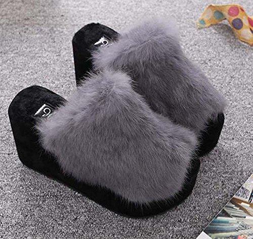 Naughtyangel Womens Platform Shoes with Rabbit Fur Slipper Grey nsMt1vY6