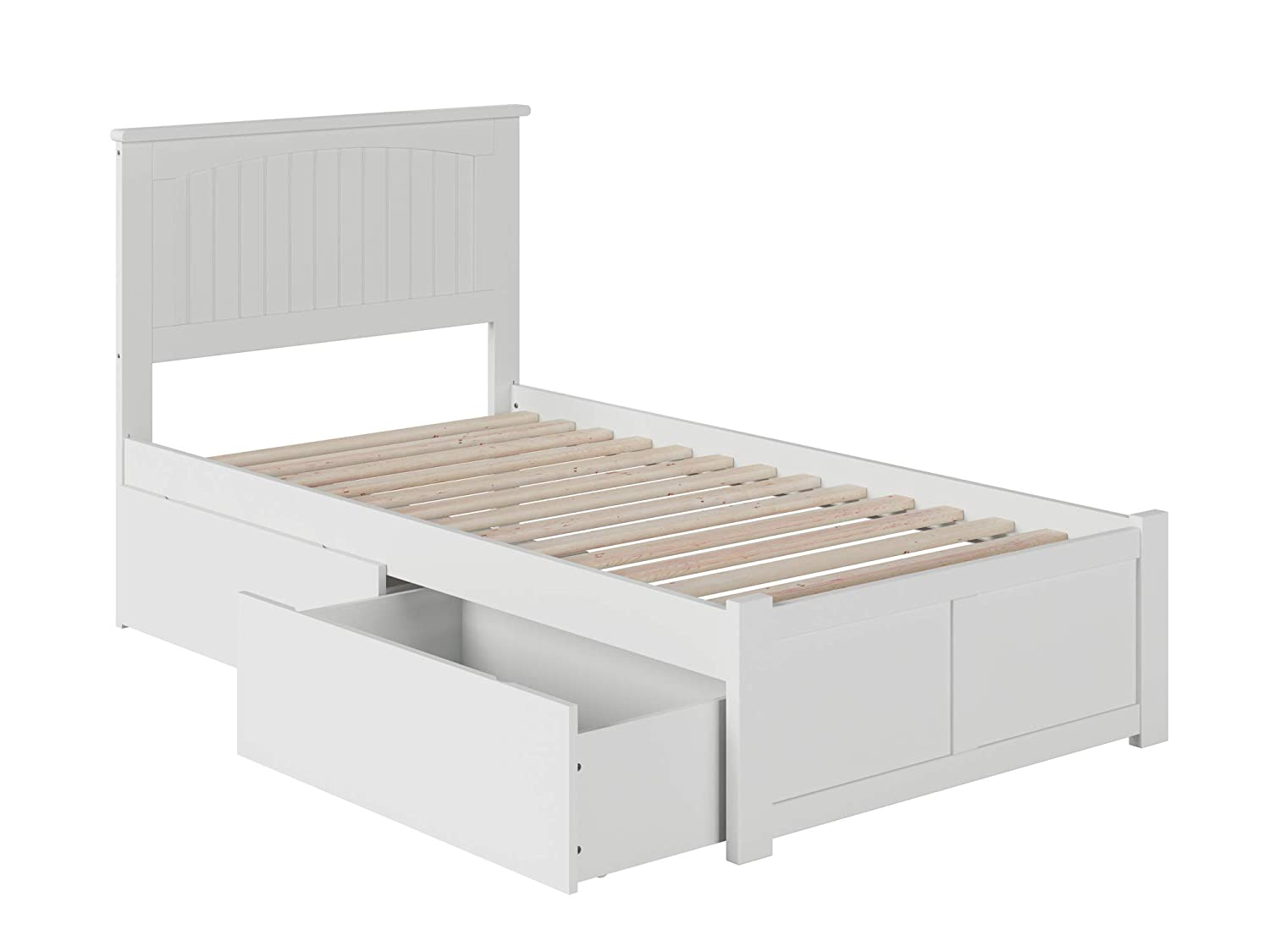 Atlantic Furniture AR8212112 Nantucket Platform Bed with 2 Urban Bed Drawers, Twin XL, White