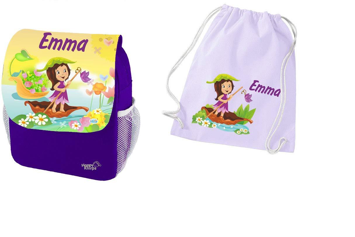 Mein Zwergenland Set 2 Kindergartenrucksack und Turnbeutel Baumwolle Happy Knirps Next Print mit Name Mädchen, 6L, Lila