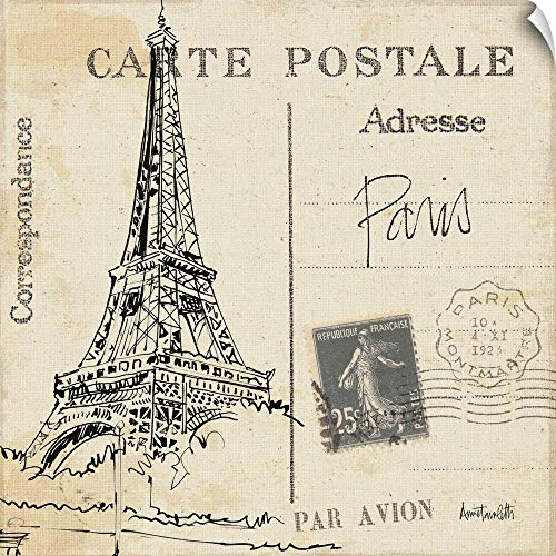 "CANVAS ON DEMAND Postcard Sketches III Wall Peel Art Print, 48""x48"""