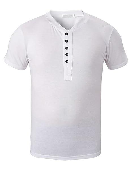 Feicuan Camisetas de Hombres Camisetas básicas de Manga Corta T-Shirt de Henley Cuello sólido Slim Verano: Amazon.es: Ropa y accesorios