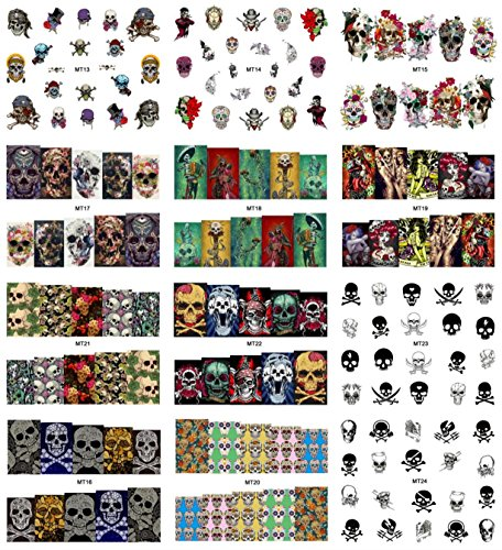 1 Set Mix Skull Nail Art Stickers Halloween Water Transfer Nails Wrap Paint Tattoos Stamp Plates Templates Tools Tips Kits Goodly Popular Xmas Christmas Winter Holidays Stick Tool Vinyls Decals Kit