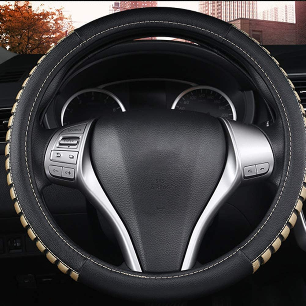 Steering Wheel Cover Leather Large 15 1//2 to 16 inch Universal Soft Grip Breathable for Car Truck SUV Jeep Anti Slip,Beige
