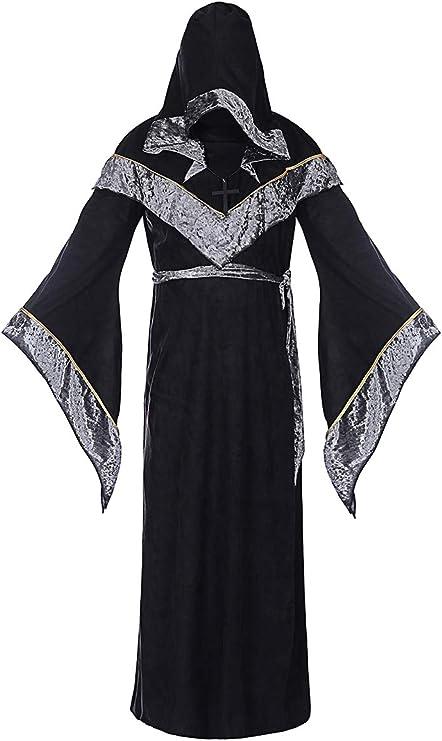 Amazon.com: Disfraz de brujo para hombre, estilo medieval ...