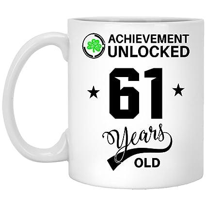 Birthday Mug Gift For 61 Year Olds Achievemennt Unlocked Old Gifts