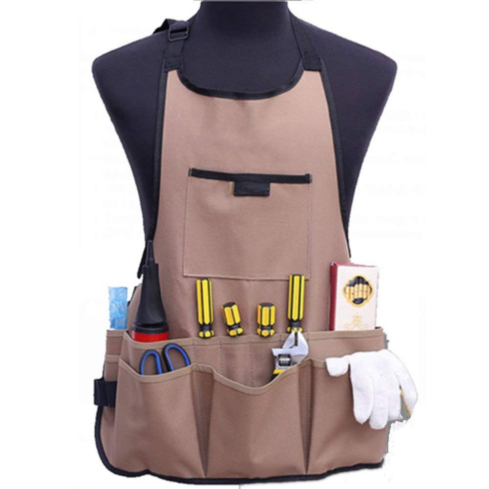 BOER INC Adjustable Garden Tool Apron with Multifunction Pockets Waterproof Wear-resistant Work Apron Professional for Garden Workers Cleaner (Khaki) by BOER INC