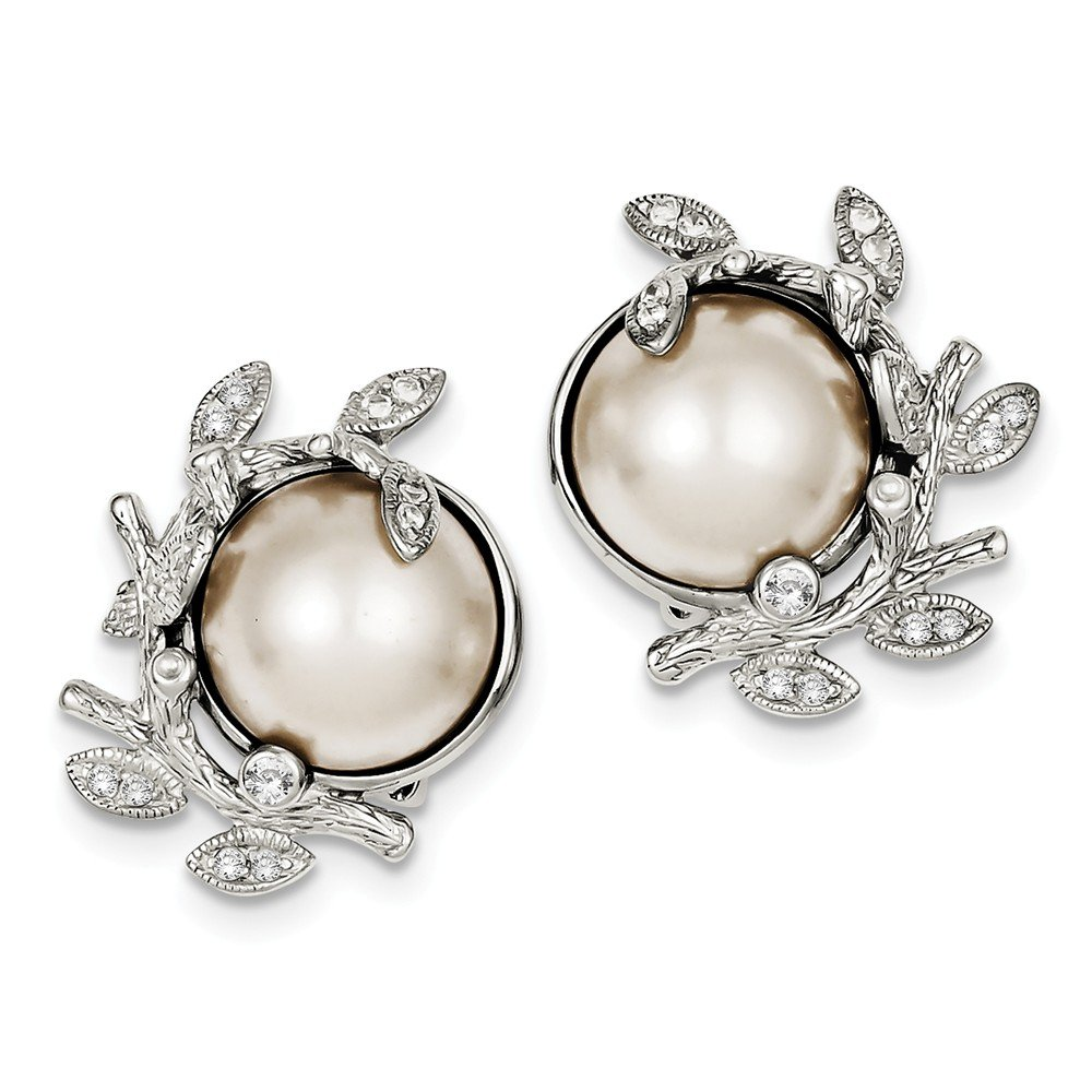 Sterling Silver CZ & Simulated Pearl Clipback Earrings