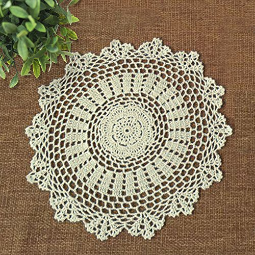 yazi Small Handmade Crochet Lace Cotton Doily Coasters Ro...