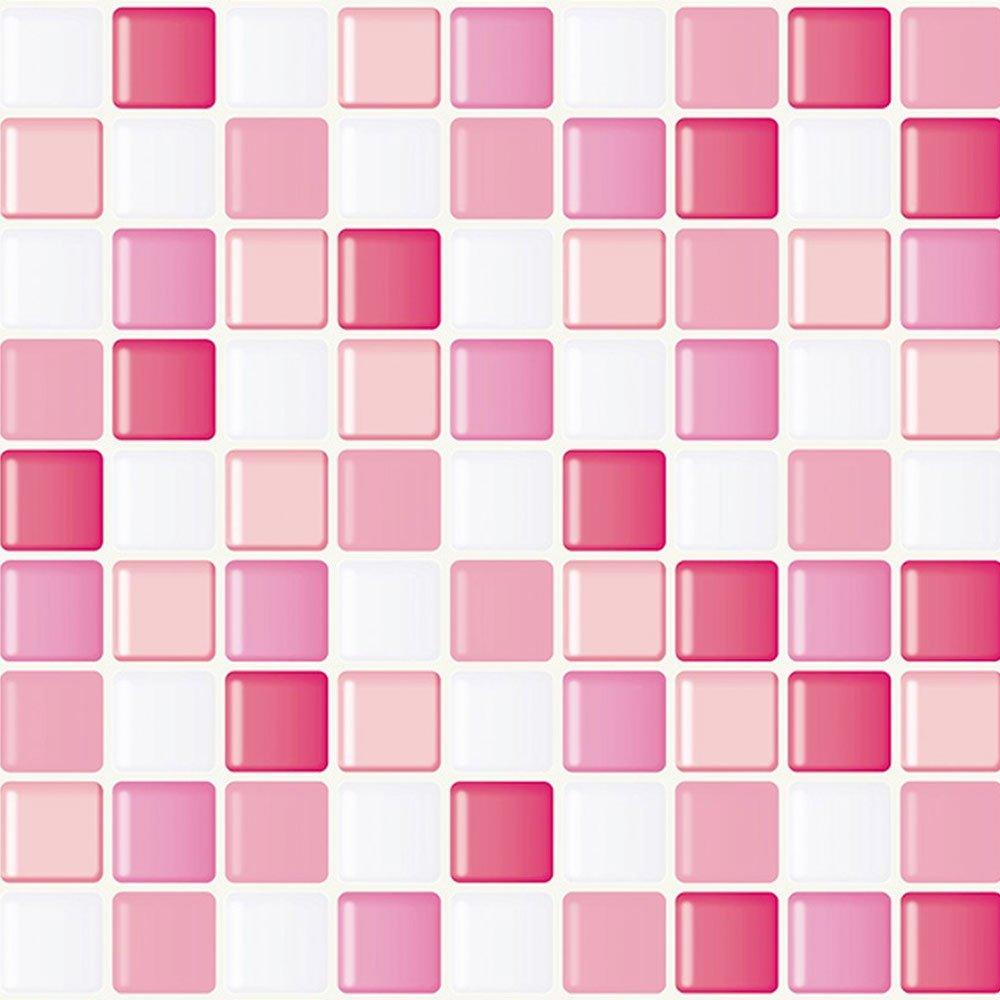 壁紙シール はがせる おしゃれ 【お得な壁紙シール15mセット】 クロス のり付き モザイクタイルシール [ピンク] モザイクタイル シート ウォールステッカー 壁紙 シール B071LHLNVV お得な15mセット ピンク
