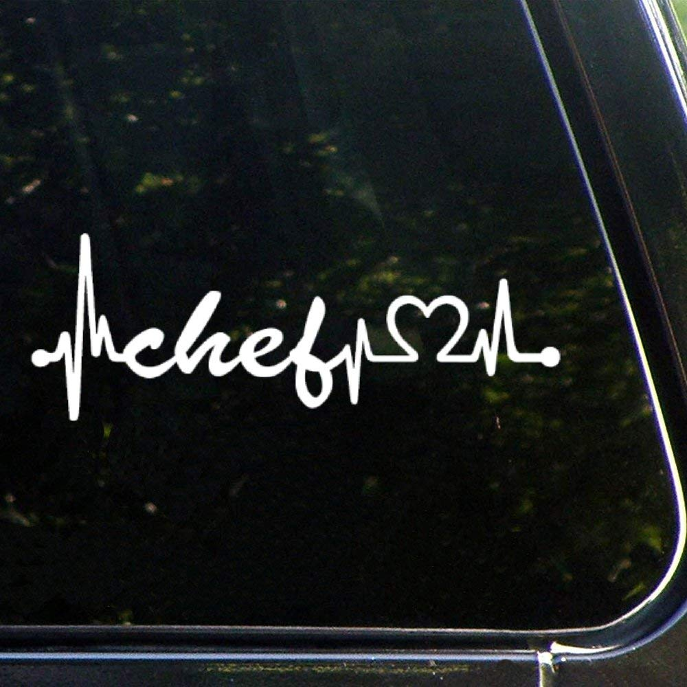 Chef Heartbeat Lifelineauto Sticker,Vinyl Car Decal,Decor for Window,Bumper,Laptop,Walls,Computer,Tumbler,Mug,Cup,Phone,Truck,Car Accessories lutnq209oxj6