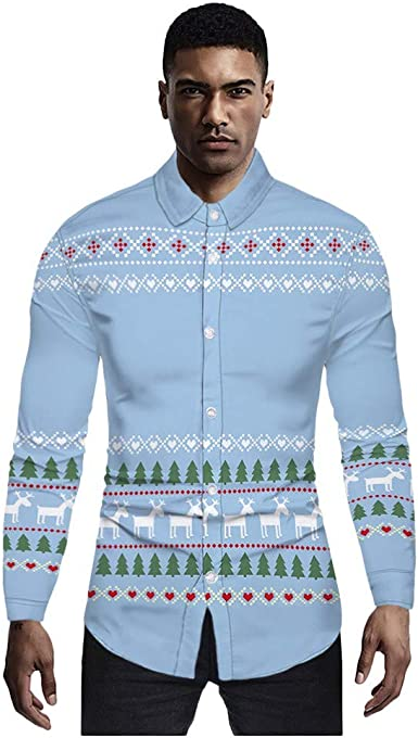 ღLILICATღ Navidad Hombres Casual Copos de Nieve Papá Noel Estampado Camisa de Navidad Top Blusa Camiseta de Papá Noel Estampada para Hombre Santa Candy Printed Christmas Shirt Top Blouse para Hombre: Amazon.es: