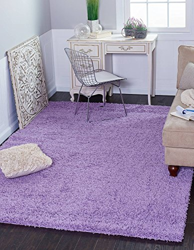 (Unique Loom Solo Solid Shag Collection Modern Plush Lilac Area Rug (8' 0 x 10' 0) )