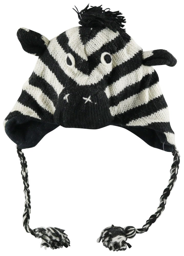 Nepal Wool Lined Animal Hat - Zebra