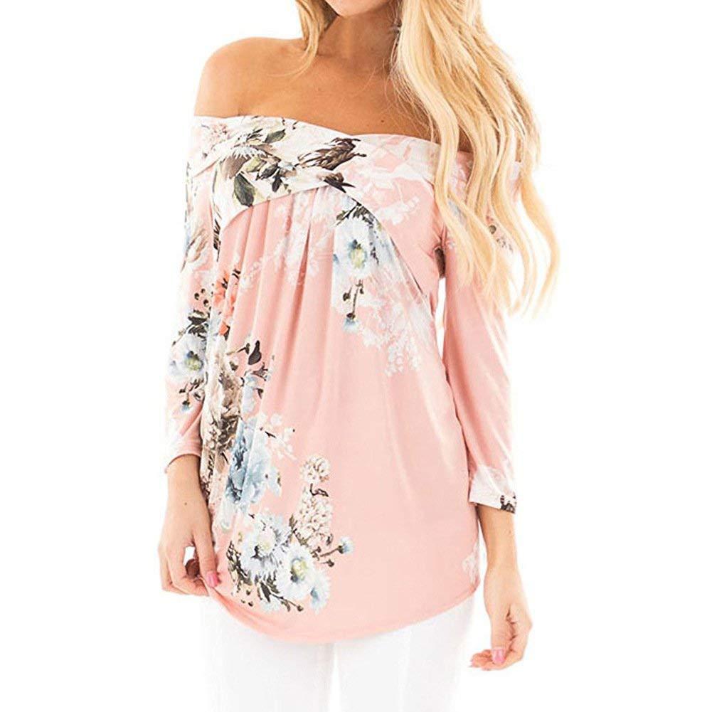 HaiDean Off Épaule Blouse Dames Casual Mode Femmes Floral Shirt Chic Jeune T-Shirt Long Loose Shirts Top Vêtements Automne Plus (Color : Rosa, Size : XL)