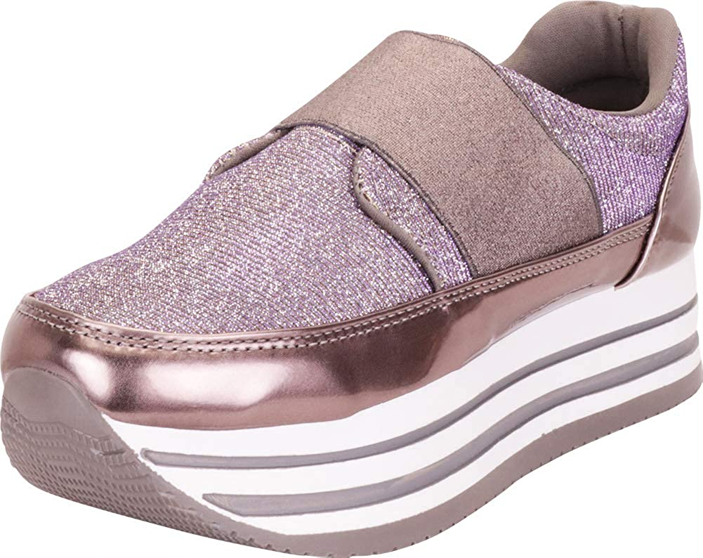 Pewter Cambridge Select Women's Glitter Stretch Slip-On Chunky Striped Flatform Fashion Sneaker