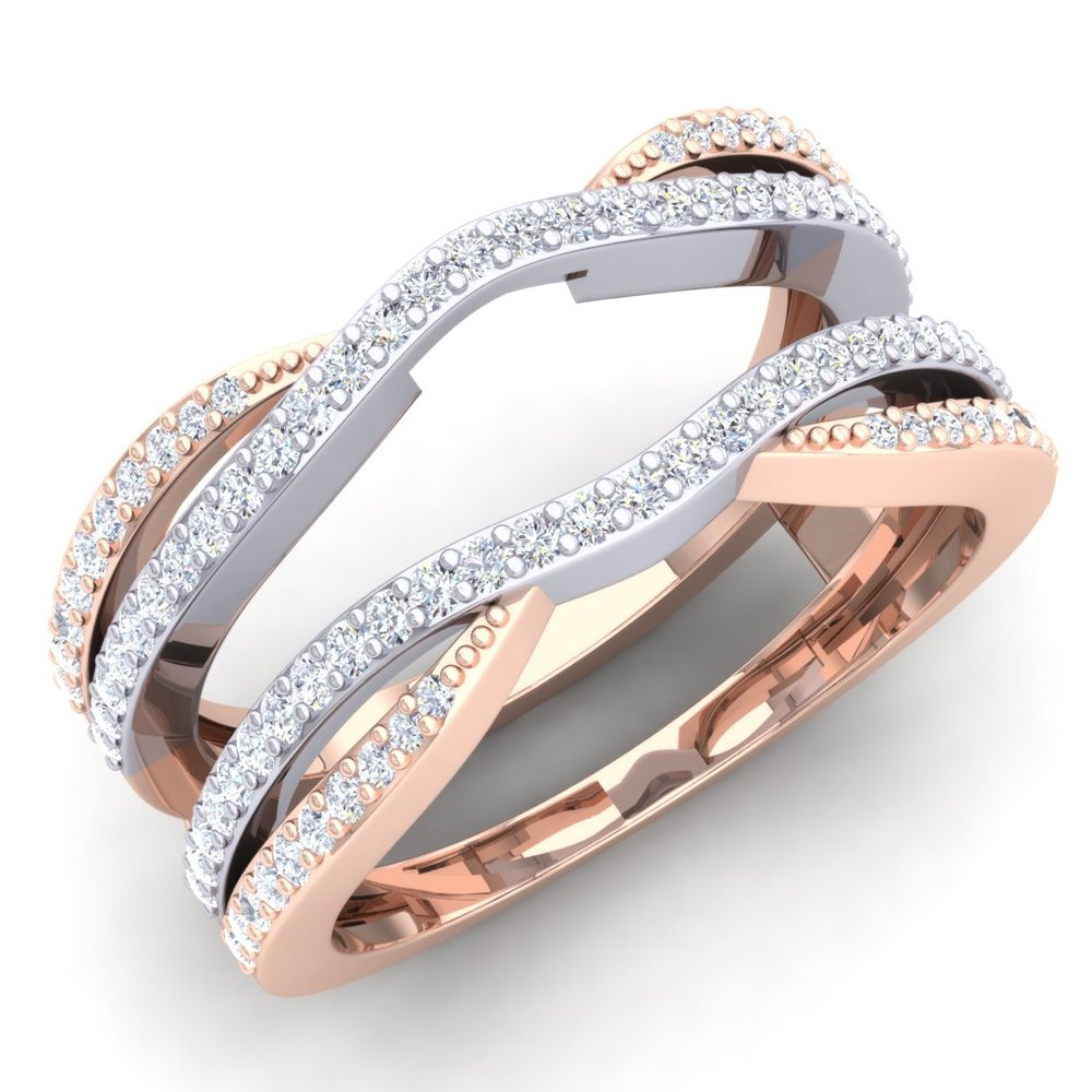 0.50 Carat (ctw) 10K White & Rose Gold Two Tone Diamond Wedding Band Guard Double Ring 1/2 CT (Size 7)