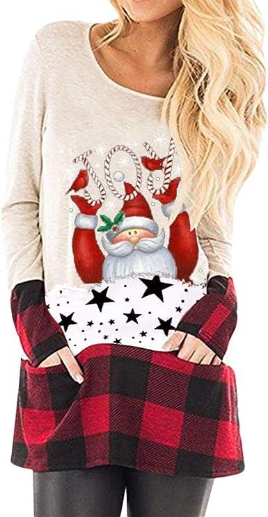 Mujer Sudadera Navidad Camisa Navideñas Camisetas Casuales Empalme Estampada Blusa Cómodo Cuello O Pullover Suéter Ropa de Invierno Tops Fannyfuny: Amazon.es: Ropa y accesorios