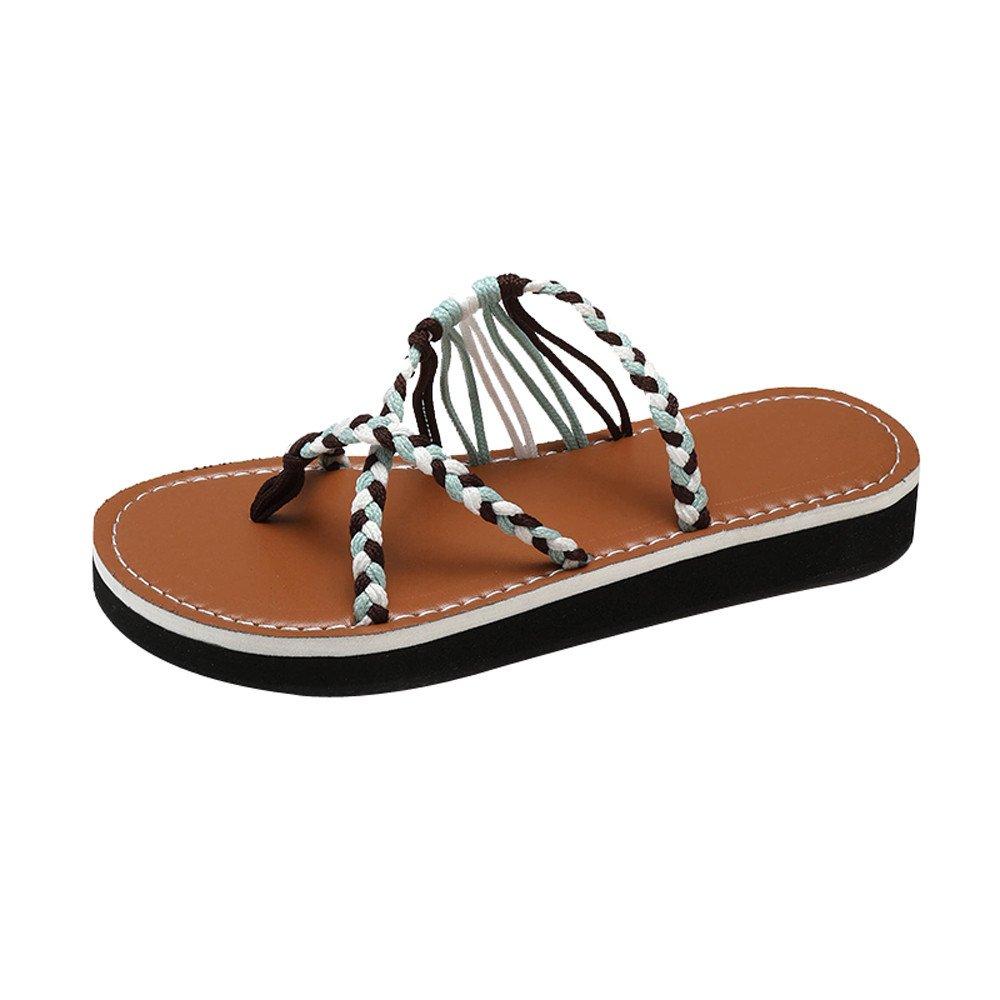 Sandales Femme,Mode Femme Noeud Tricoté Talon Plat Sandale À Bout Rond Sandales De Plage Chaussures Tongs,Chaussures de Travail(35,Bleu Clair)
