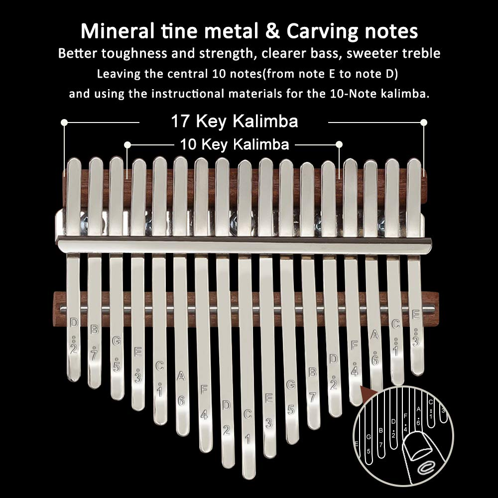 Kalimba 17 Keys Thumb Piano, Solid Wood Finger Piano with Portable Bag and Study Instruction, African Musical Instruments Mbira Carved with Feathers, Best Gift for Beginners Kids Adult(Dark Brown) by NewCee (Image #3)